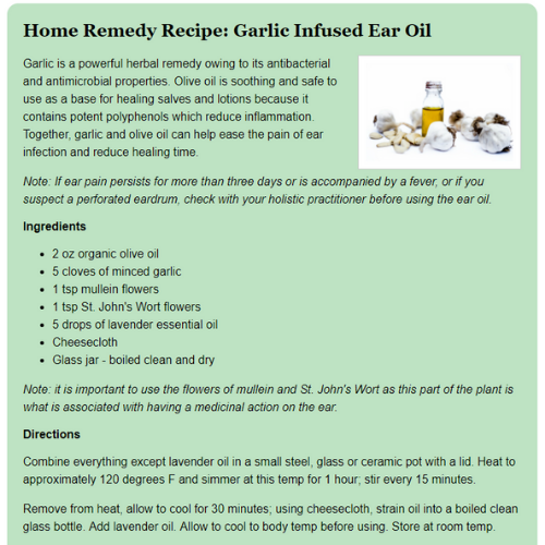MTP Article - Recipe: Home Remedy Recipe: Garlic Infused Ear Oil